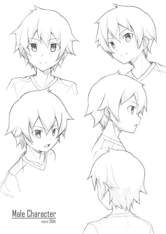 Anime boy poses