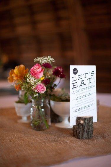 7-tree-stump-table-menu-and setting-mason-jars-succulents