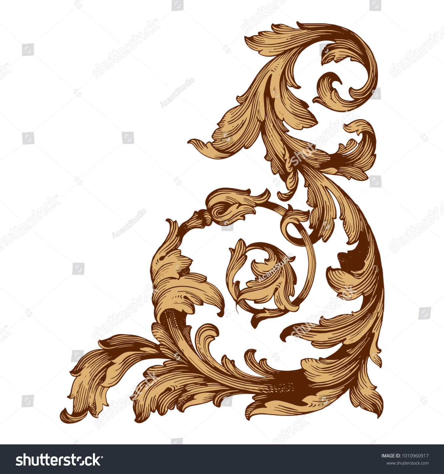 Gold Vintage Baroque Ornament Retro Pattern Antique Style Acanthus Decorative Design Element Filigree Calligraph Baroque Ornament Baroque Frames Retro Pattern