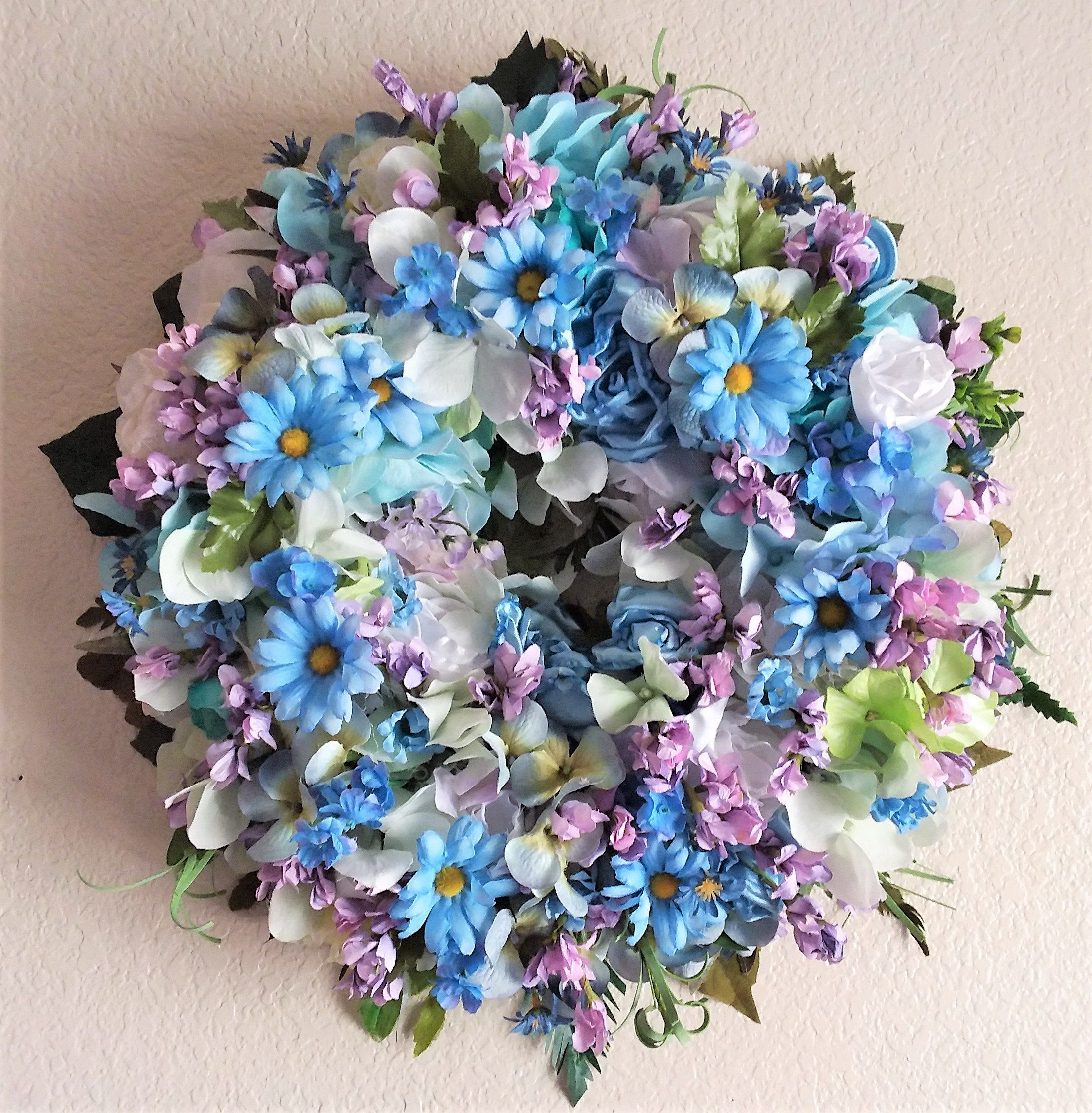 Summer Wreath-The DAISIES IN JUNE Wreath-Summer Wall Decor-Summer Door Decor-Blue Daisy Wreath-Blue Room Decor-Blue and Purple Wreath images