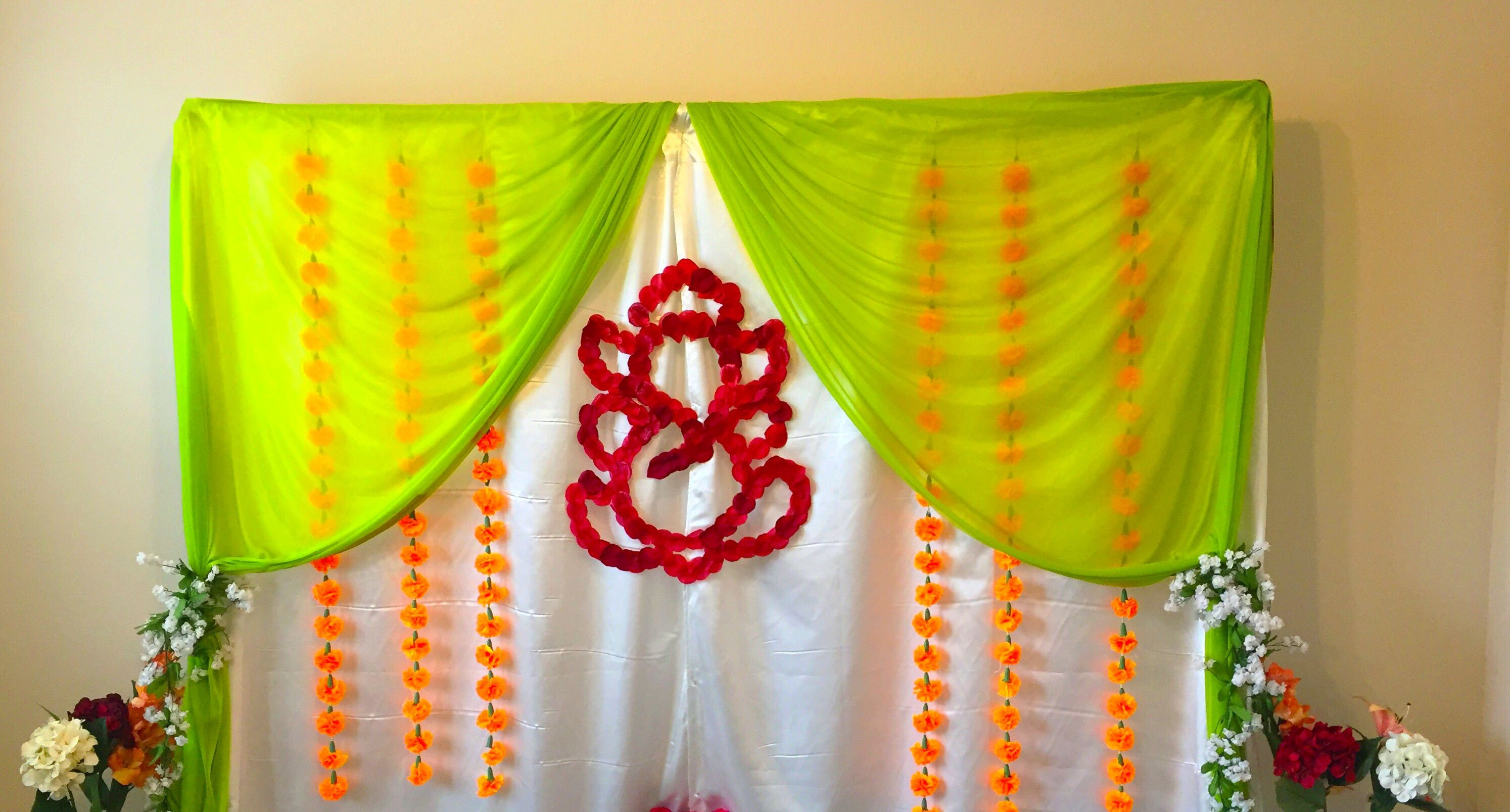 Housewarming Decoration Green And Half White Combination With Ganesh Backdrop Indian Baby Shower Decorations Housewarming Decorations Indian Baby Showers