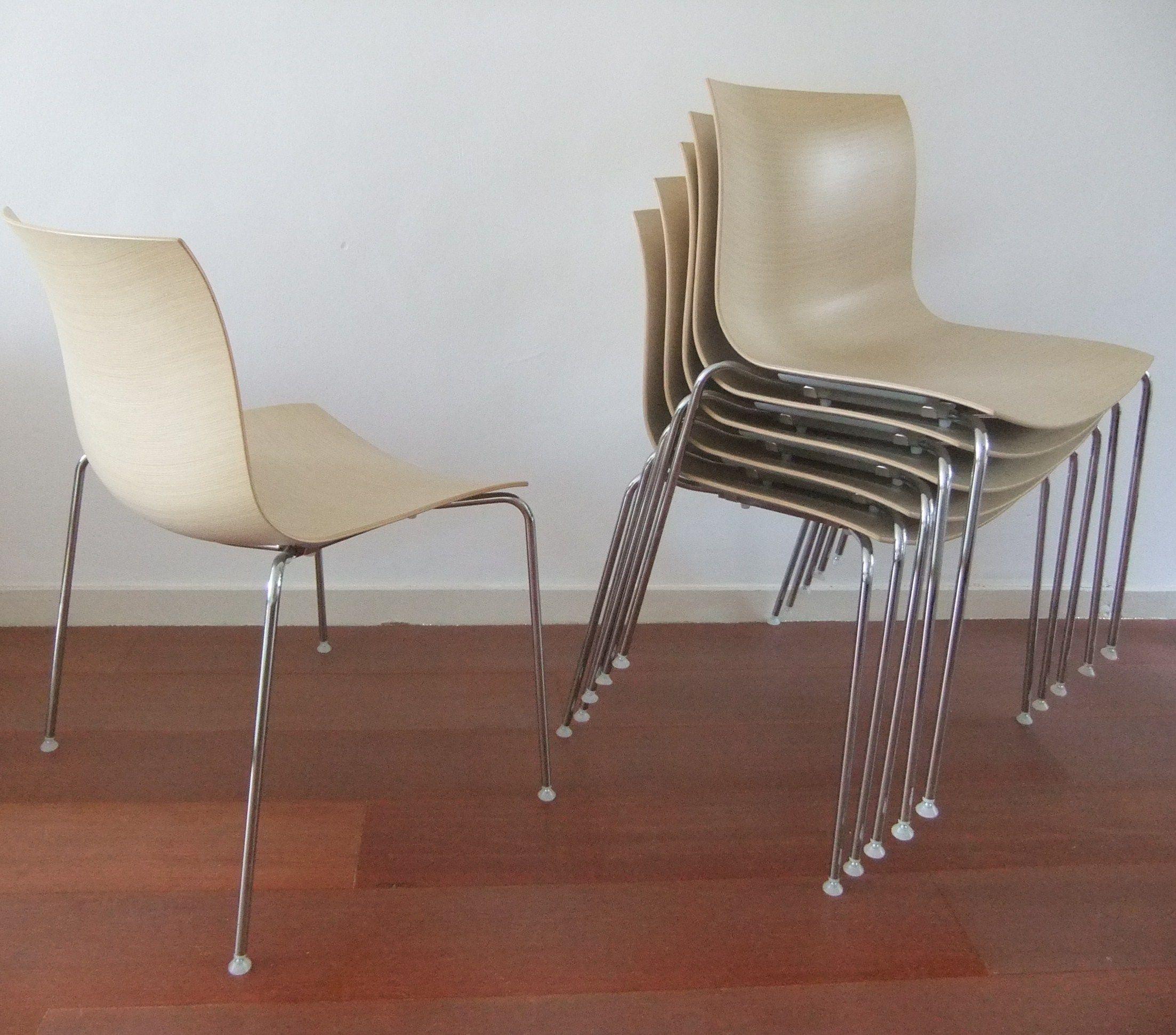6 Design Stoelen.Arper Catifa Design Stoelen Uitvoering Bleached Oak 6 Stuks
