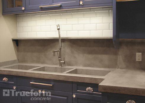 Custom Triple Sink Kitchen Concrete Countertop With