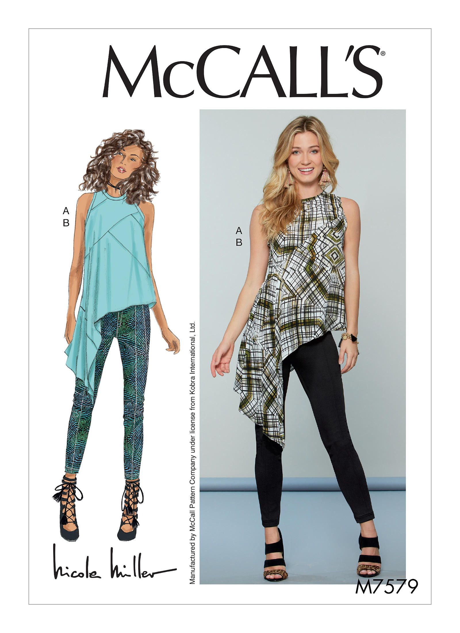 McCall\'s 7579 Misses\' Asymmetrical, Seam-Detail Top and Pants
