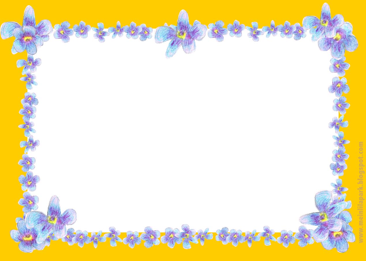 free digital blue flower frame: faux vintage forget-me-not frame ...