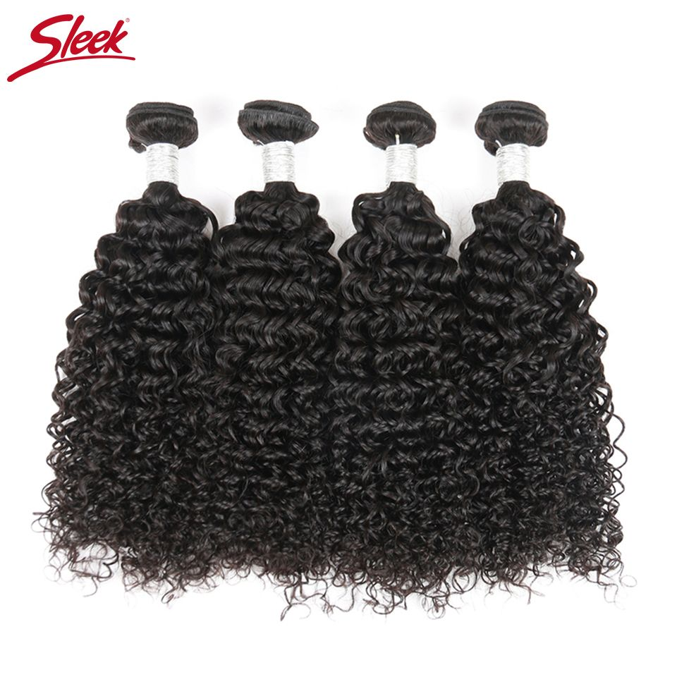 Sleek Raw Indian Curly Hair Extensions 4 Bundles Deal Jerry Curly