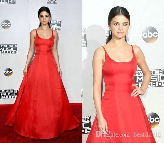 Selena Gomez 2016 Red Princess Evening Gown Celebrity Dresses American Music Awards A Line Bateau Neck Sleeveless Floor Length Floral Dresses Formal Dress From Bestdavid, $110.56| Dhgate.Com