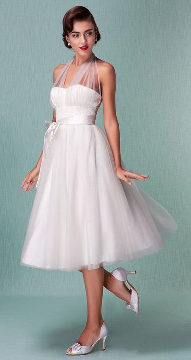 A-Line Halter Neck Knee Length Satin / Tulle Made-To-Measure Wedding ...