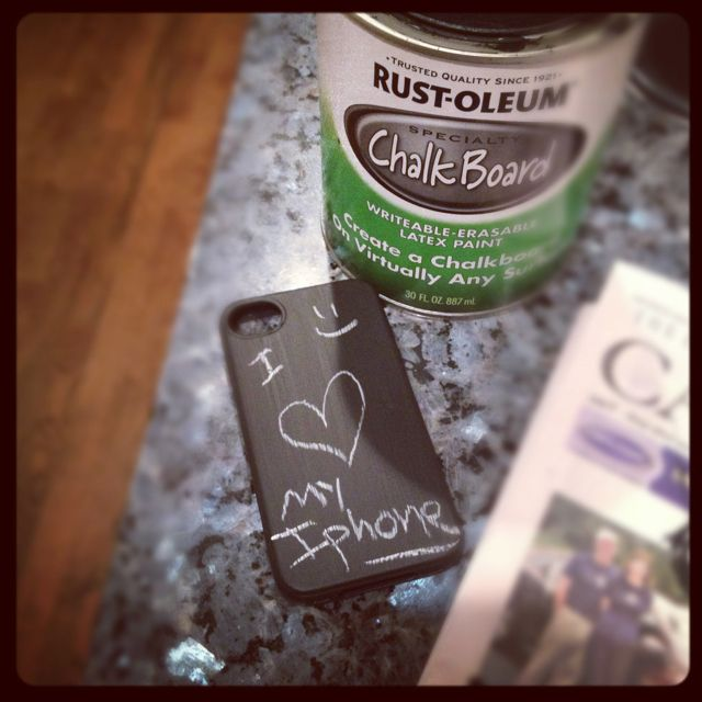 Took my iPhone case and painted it with chalkboard paint. Now I can write things on my iPhone like to-do or just fun stuff!