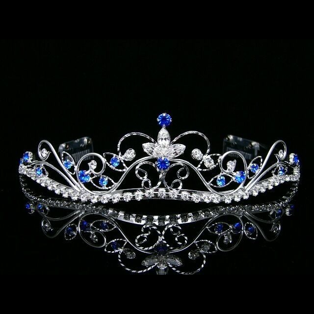 Details about Silver Blue Bridal Rhinestones Crystal Prom Wedding Crown Tiara 8377 #crowntiara