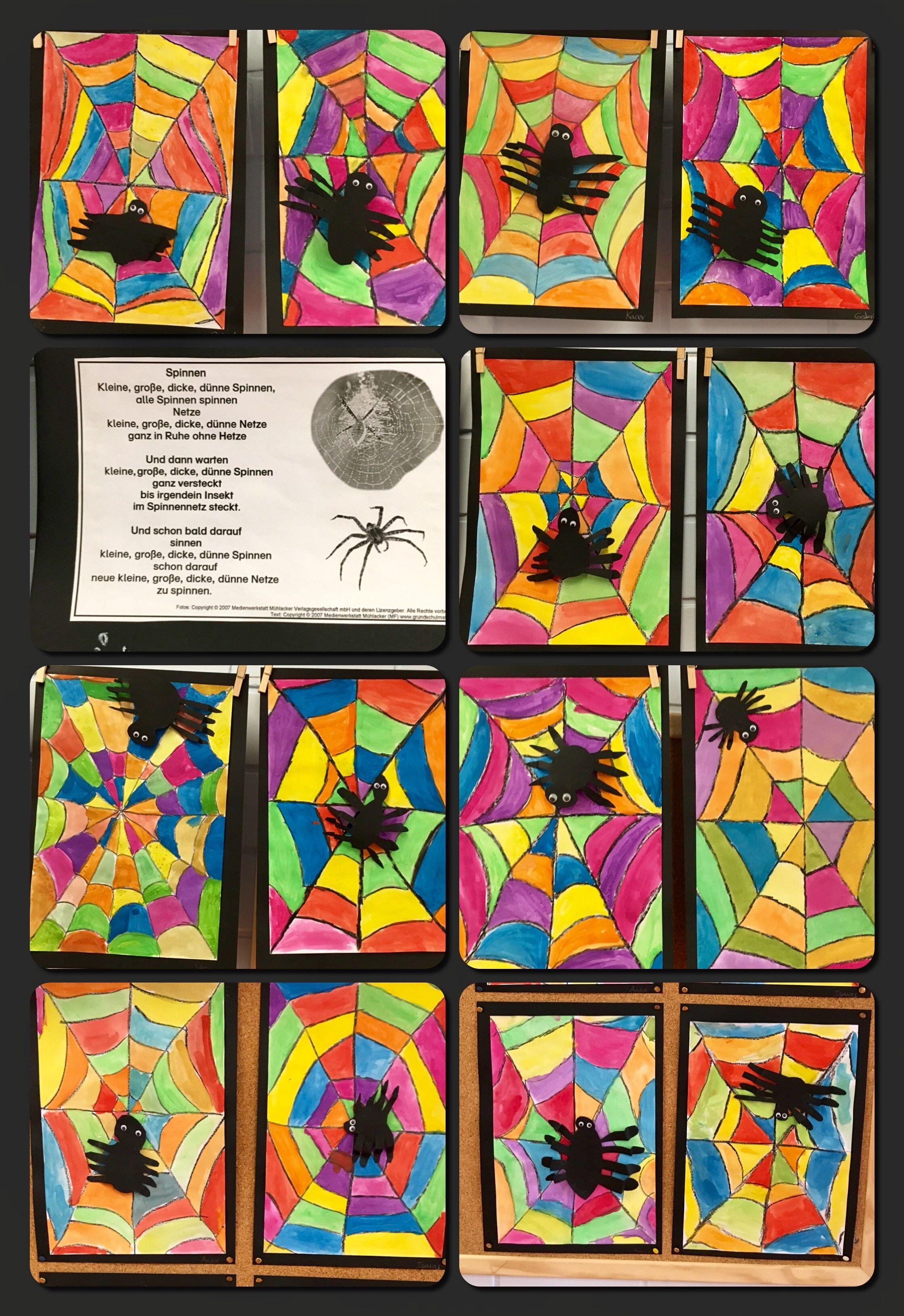 Spinnen Im Netz Wachsfarben Und Wasserfarben Kunstunterricht