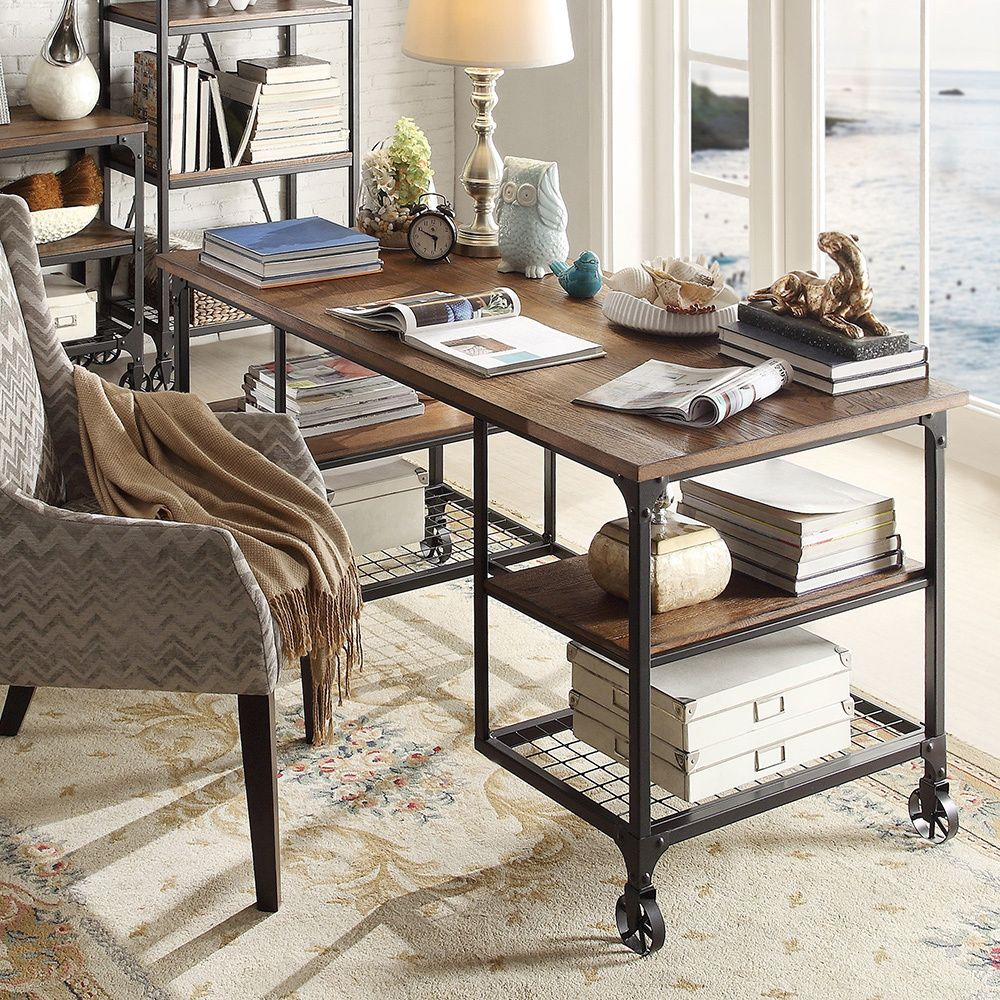 INSPIRE Q Nelson Industrial Modern Rustic Storage Desk - Overstock  Beautiful, industrial pipe and wood desk.