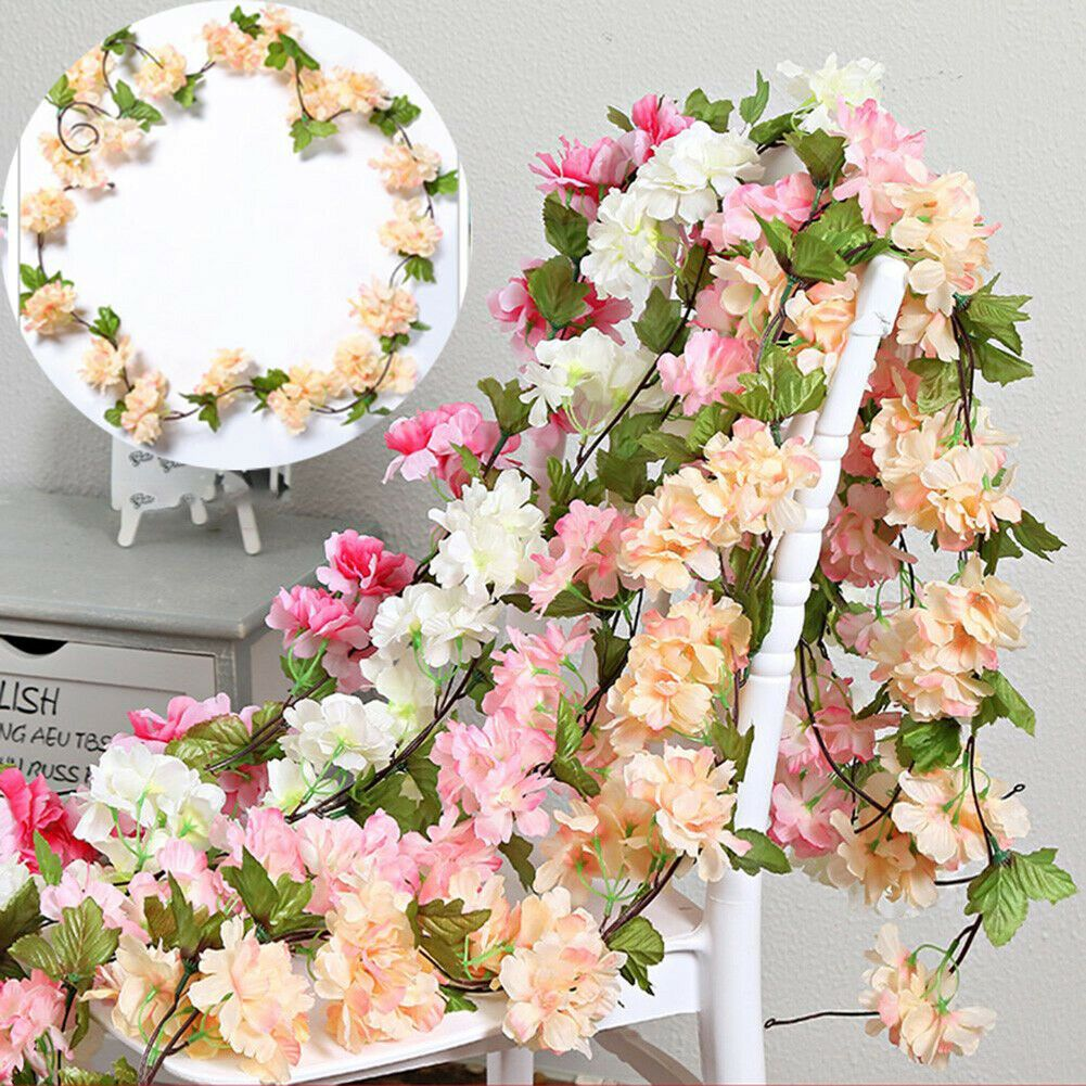 Details About Artificial Cherry Blossom Flower Garland Silk Leaves Vine Hanging Home Decor In 2020 Flowering Vines Fake Flowers Cherry Blossom Flowers