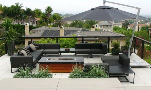 Black Outdoor Umbrella In Contemporary Patio Design