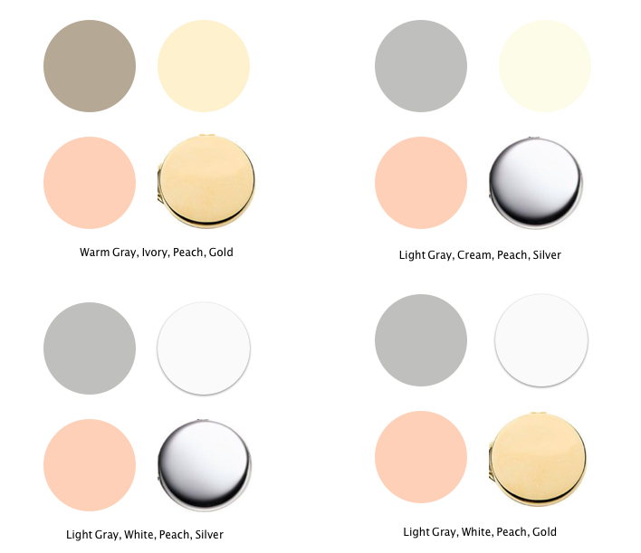 Wedding color palette  ideas - leaning towards light gray, white, peach, gold