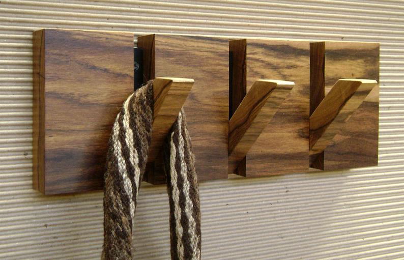 Coat Hanger Wall Mount 3 Hooks Originally Designed And Made Etsy Wall Mounted Coat Hanger Wooden Coat Rack Wall Hanger