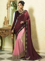 Pink & Maroon Color Crepe Party Wear Sarees : Namita Collection YF-33337