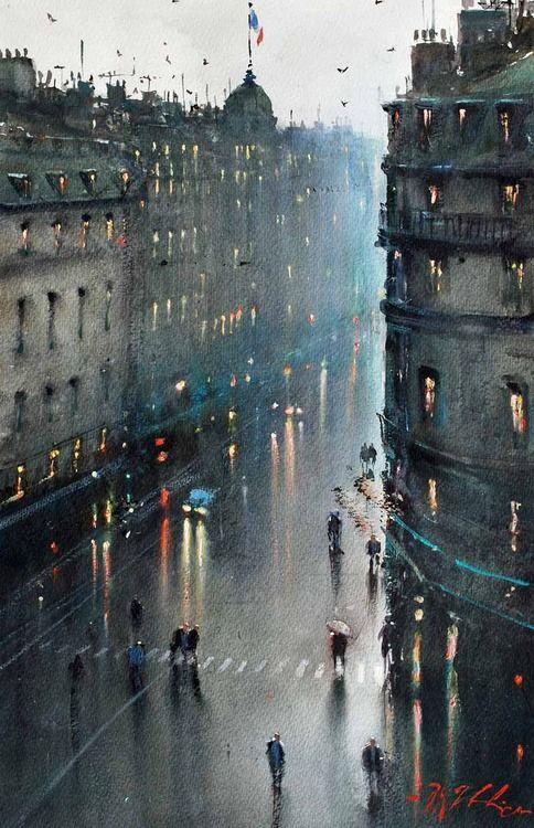 Joseph Zbukvic (Croatian/Australian. Born, 1952).  Rainy Evening, Paris, watercolour.