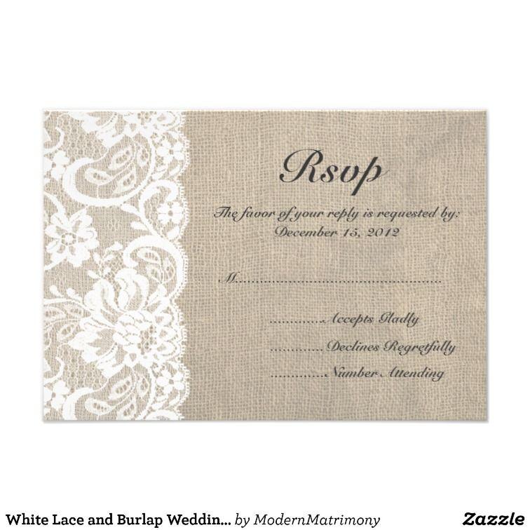 White Lace and Burlap Wedding RSVP Card | Zazzle.com