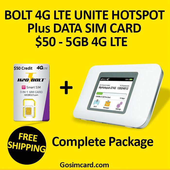 BRAND NEW H20 BOLT 4G LTE UNITE HOTSPOT Plus H20 BOLT SMART SIM $50