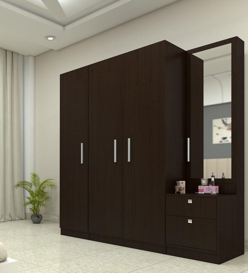 Three Door Wardrobe With Dresser In Country Oak Dark Finish In Plpb By Primorati In 2020 Dressing Room Design Bedroom Cupboard Designs Cupboard Design