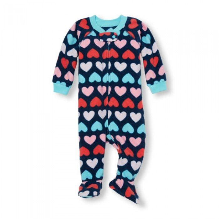 81fcdd9b1 ชุดนอนเด็ก Baby And Toddler Girls Long Sleeve Heart Print Footed One ...