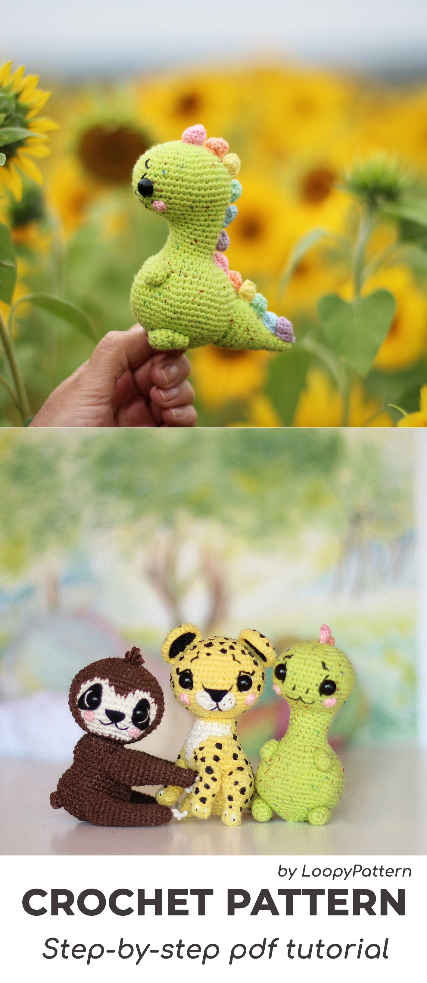 CROCHET toys pdf tutorial by LoopyPattern. Amigurumi dinosaur, crochet sloth, leopard toy, dinosaur tutorial. How crochet  sloth, leopsrd pattern #miniaturetoys