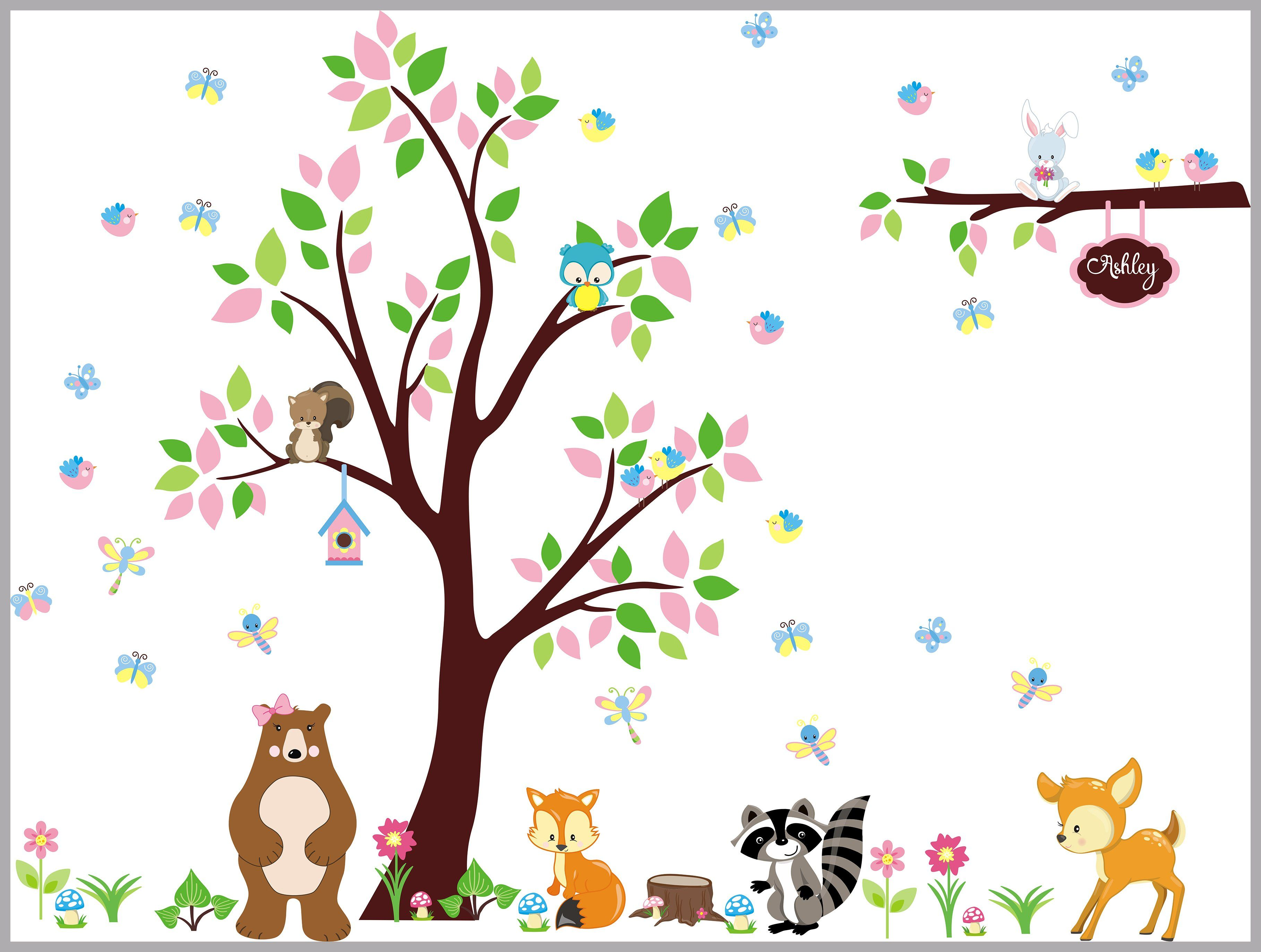 Woodland Nursery Decal   Forest Wall Decals Nursery   Nursery Wall Decal    Kids Wall Decals   Forest Decals   Woodland Decal