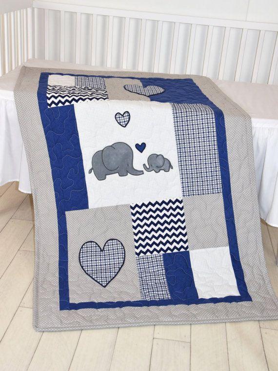 Elephant Baby Blanket, Navy Gray Crib Quilt, Chevron Kids Bedding ...