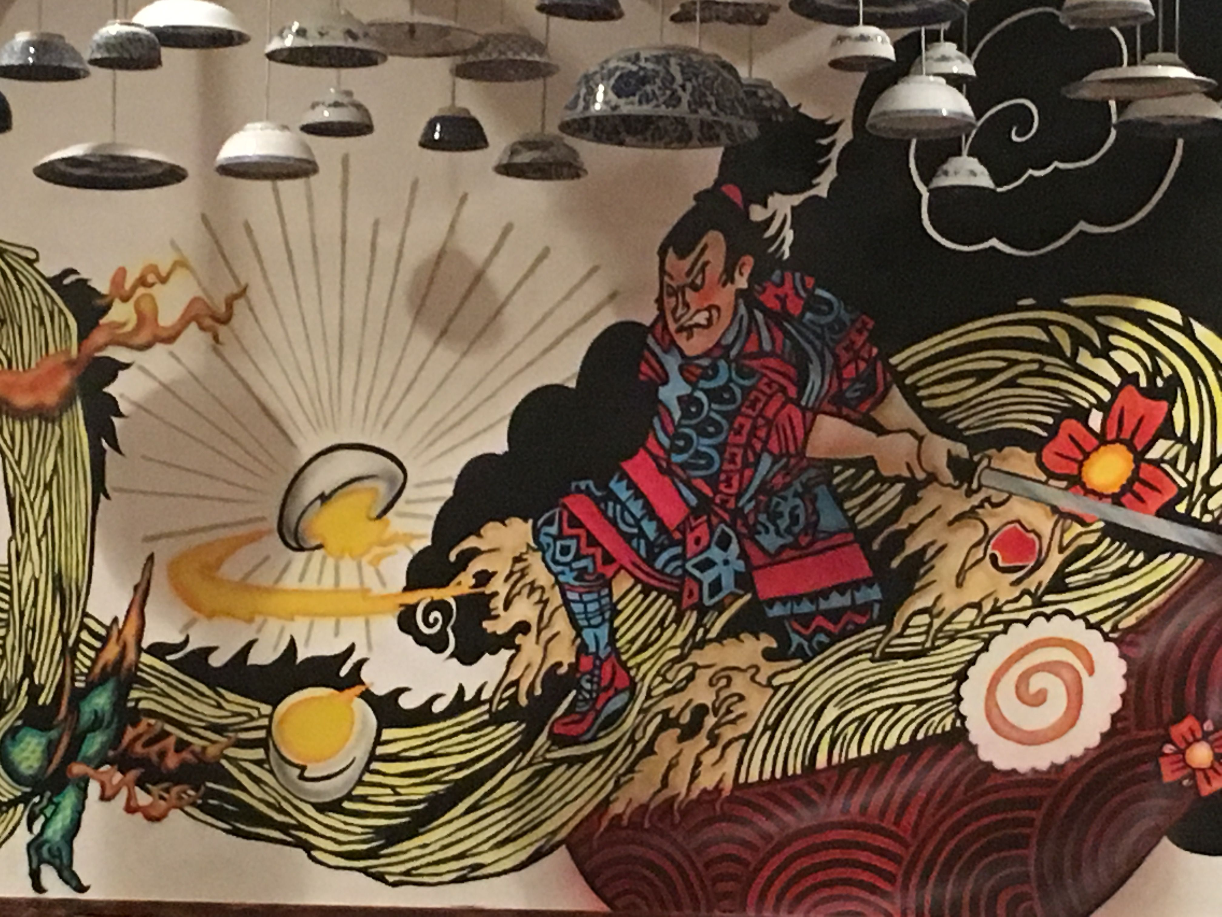 A closer look at the awesome wall mural inside of Oki Maki in ...