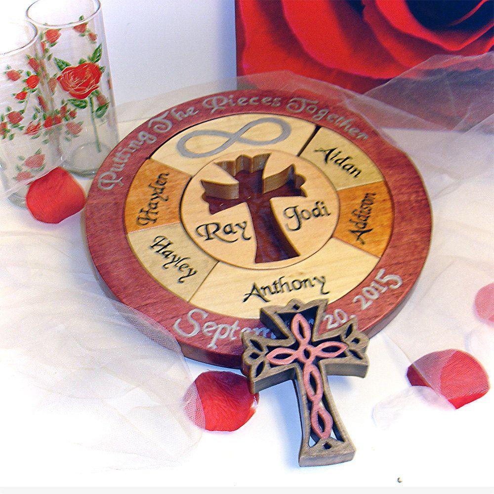 Unity Cross Wedding Puzzle Ceremony Alternative Custom Designed Personalized Blended Family Wooden Tray