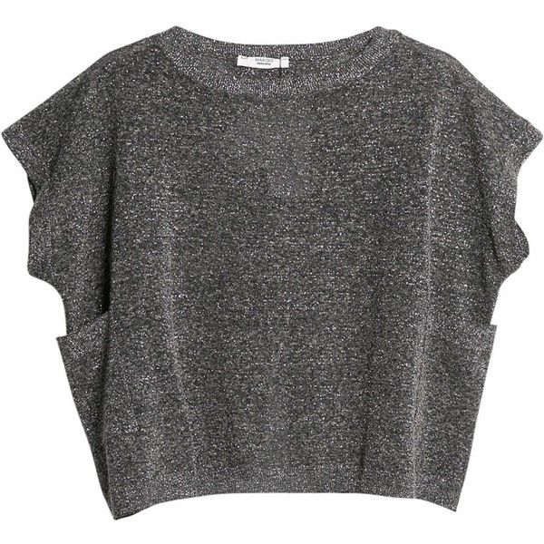 Mango Metal Thread Knit Top, Dark Grey ($53) ❤ liked on Polyvore featuring tops, t-shirts, shirts, crop tops, dolman-sleeve tops, crop t shirt, short sleeve tops, short shirts and sparkle t shirts