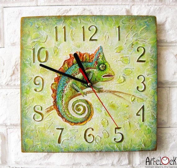 The Green Chameleon Wall Clock OOAK Home Decor for by ArtClock, $40.00