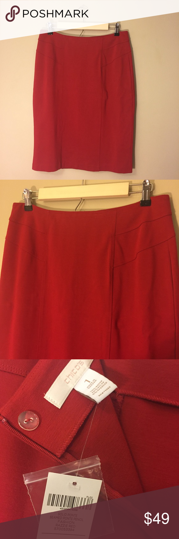 ca5917e9de Chico's Red Seamed Ponte Pencil Skirt NWT Chico's solid red seamed ponte  pencil skirt, size
