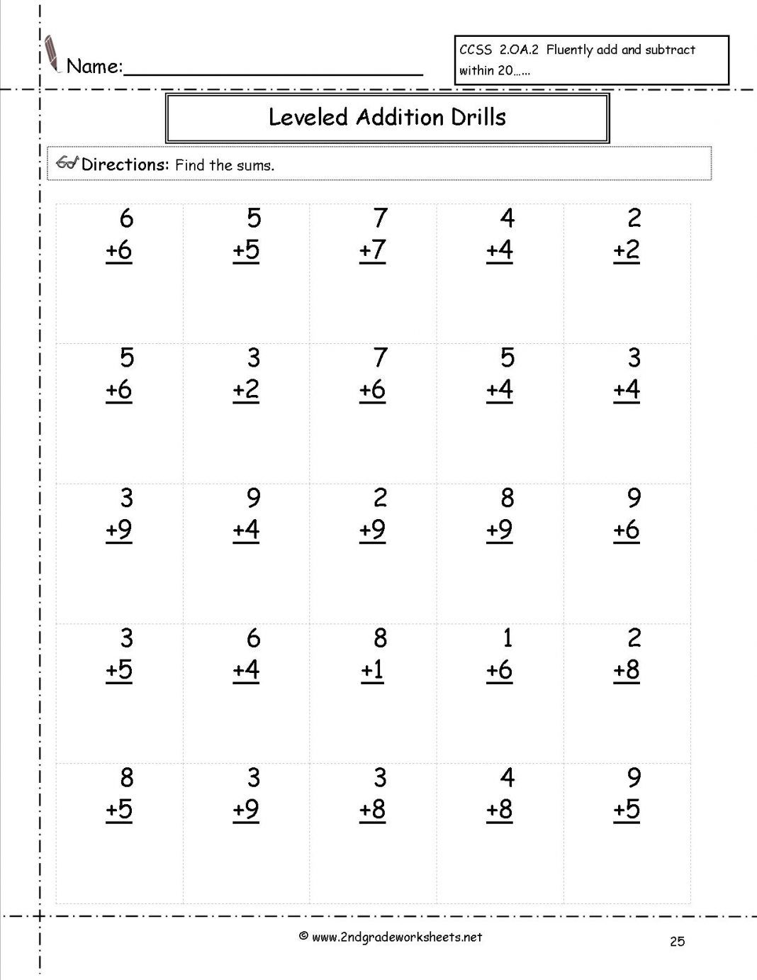 Second Grade Math Worksheets Additiondrills25 Leveled In