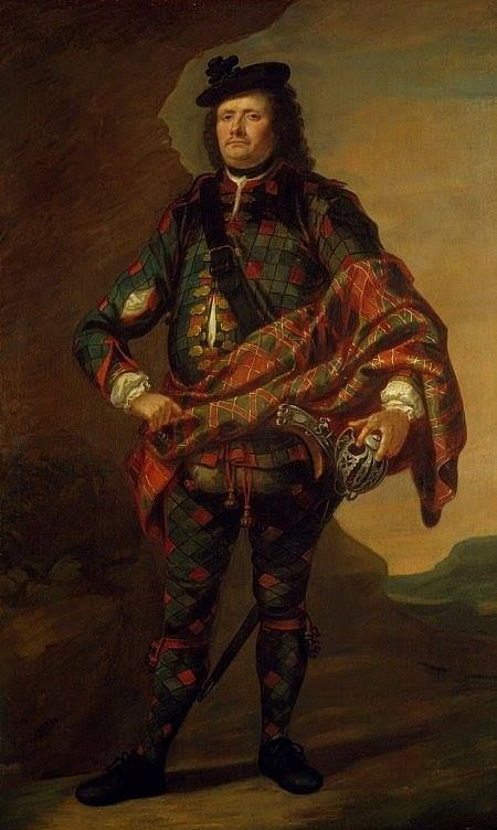 Major James Fraser of Castle Leathers (1670 - 1760), wearing the oldest known Fraser tartan. This man was of the same clan and social standing as Jamie, at about the same time. This is a VERY good indication of how Jamie could have dressed, on very formal occasions, such as the wedding. Jamie is a Laird. His formal attire would be quite similar to this. Painted about 1715 - 1720