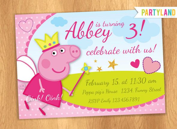 Peppa Pig Personalized Birthday Invitation By PartylandShop