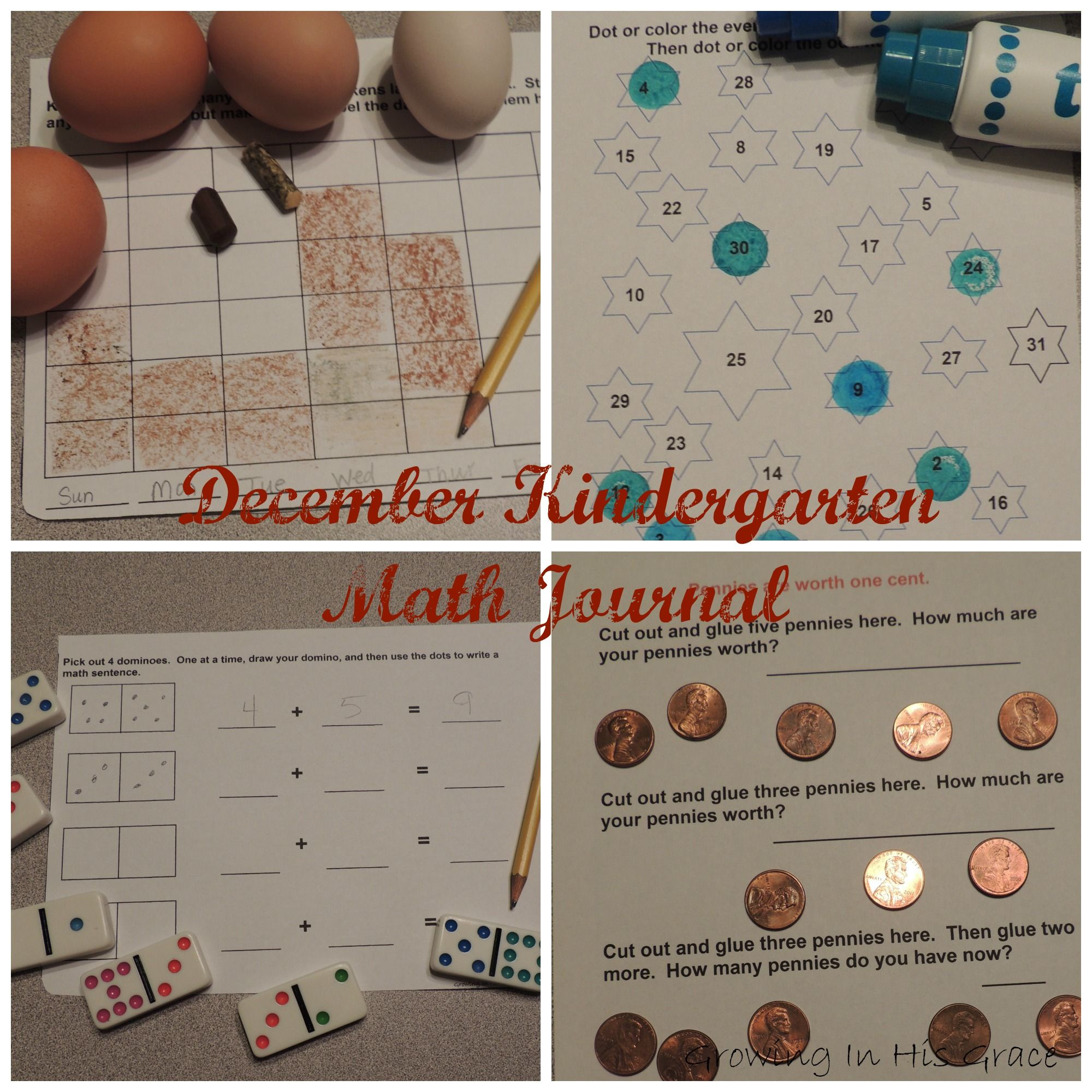 December Kindergarten Math Journal Pages Free Download