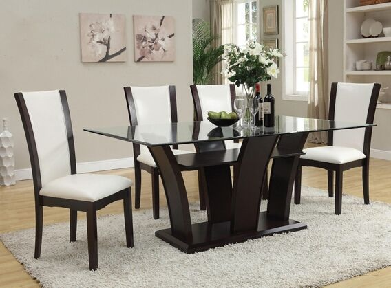 7 Pc Malik Collection White Leather Like Vinyl Upholstered Chairs And  Espresso Finish Wood Dining Table Set With Glass Top. This Set Includes The  Dining ...