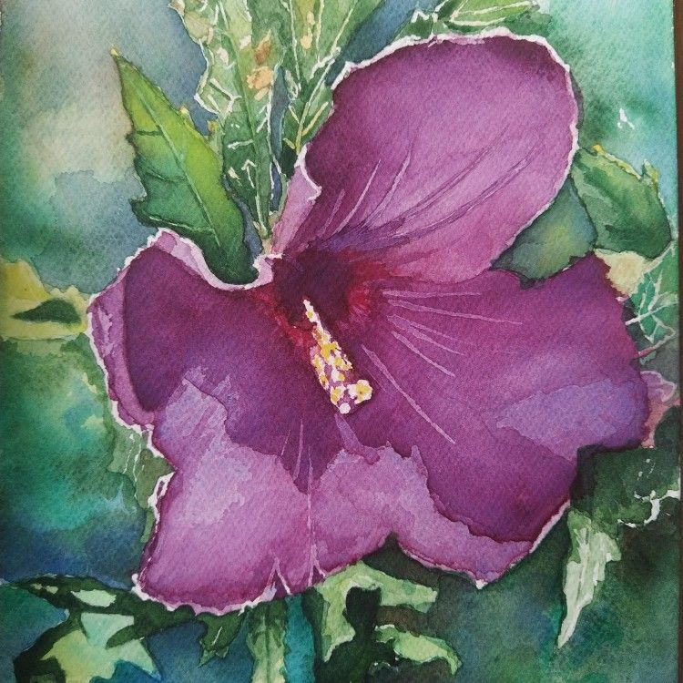 #watercolor #aquarelle #paint #painting #aquarello #flower #green #purple