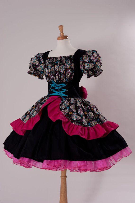 1590347ef146d LAST CUSTOM SIZED Day of the Dead Dress Cinco De Mayo Costume Sugar ...