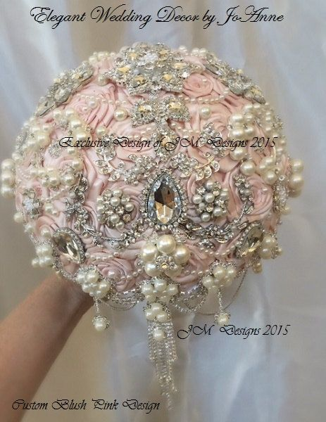 BLUSH PINK Brooch Bouquet Pale Pink Bridal by Elegantweddingdecor