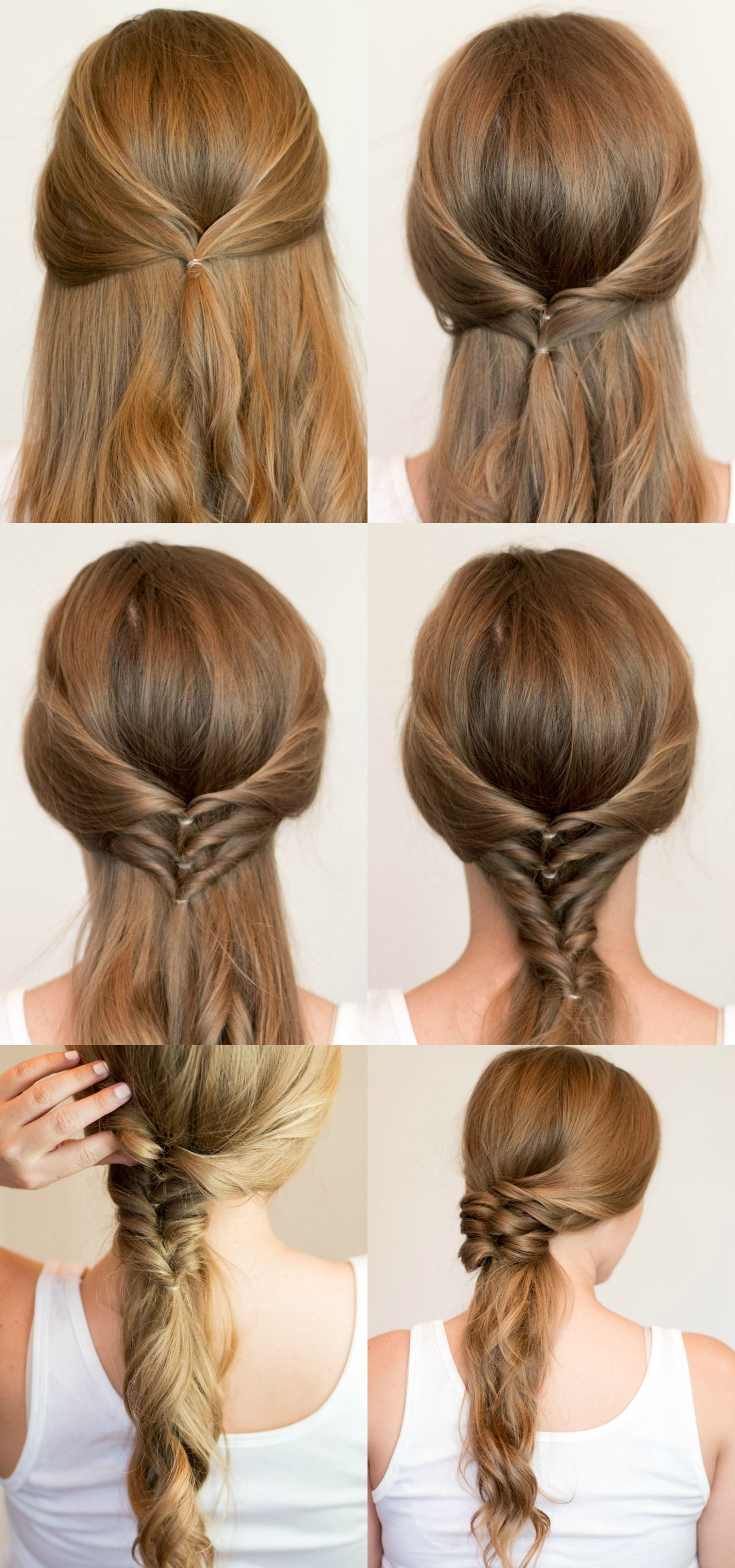 Faux Braided Ponytail Hair Tutorial 4 Easy Heatless Hairstyles For Long Hair That Don T Require Hai Heatless Hairstyles Braids For Long Hair Long Hair Styles
