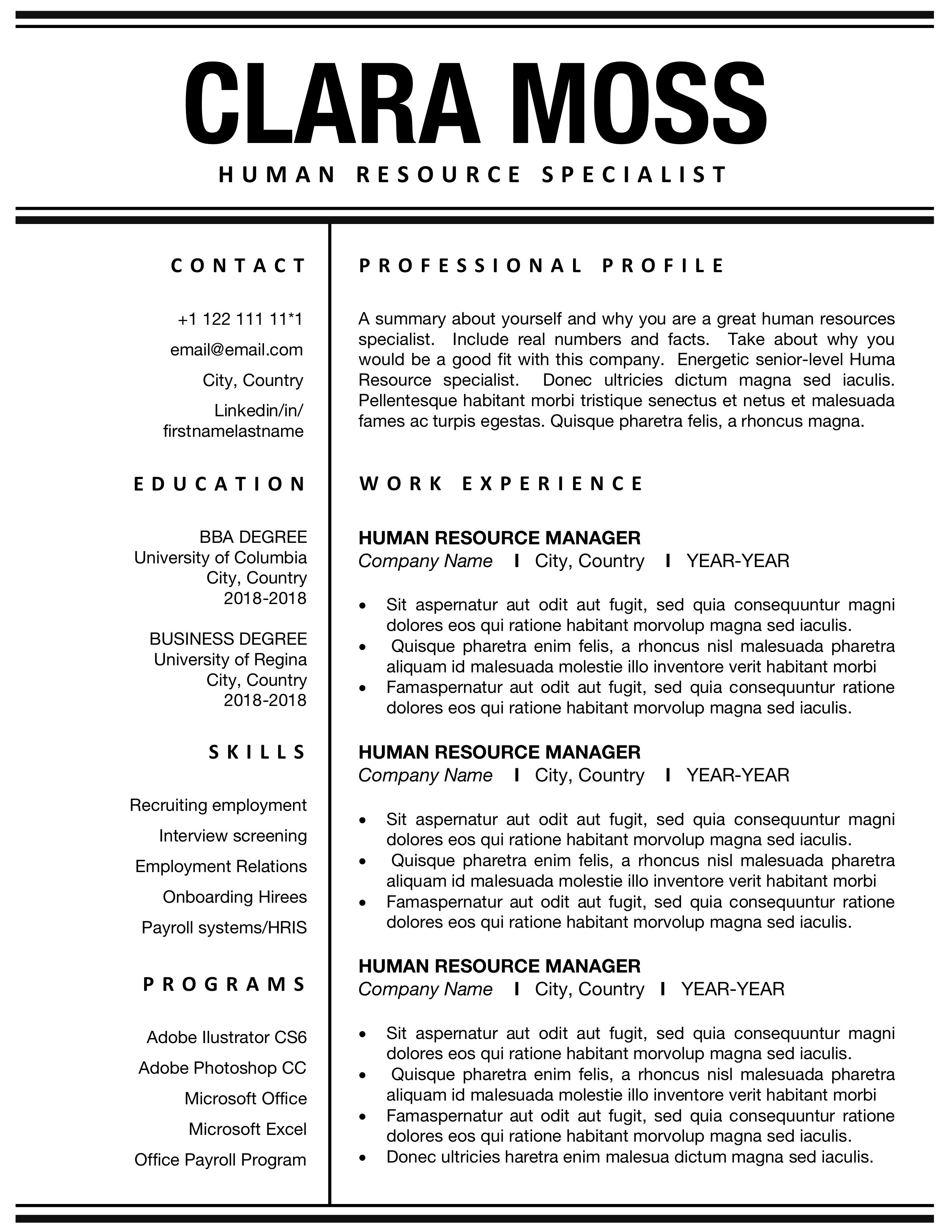 Human Resource Resumes Resume Template Cv For Word Hr Administrative Professional Modern