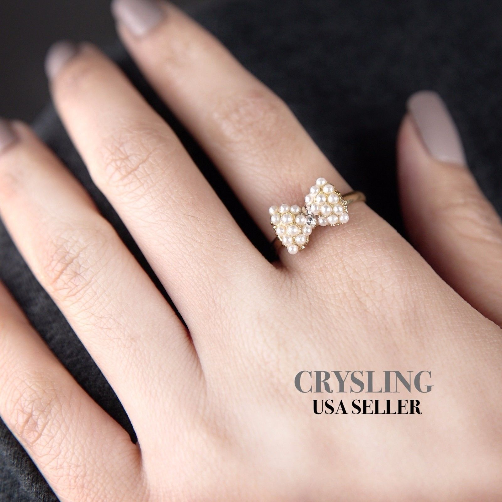 Lovely Pearl Beads Gold Bow Ring Fashion Jewelry Adjustable Ring USA ...