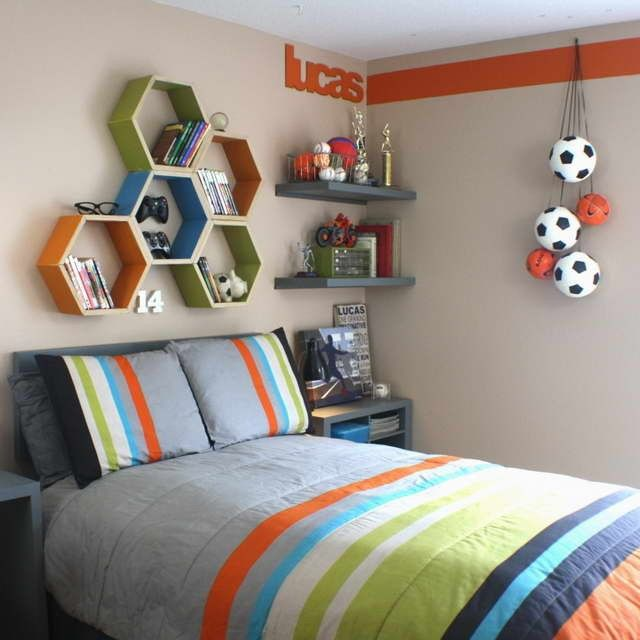 Soft-Grey-Paint-Wall-Color-Boys-Room-Decorating-Ideas-With-Striped
