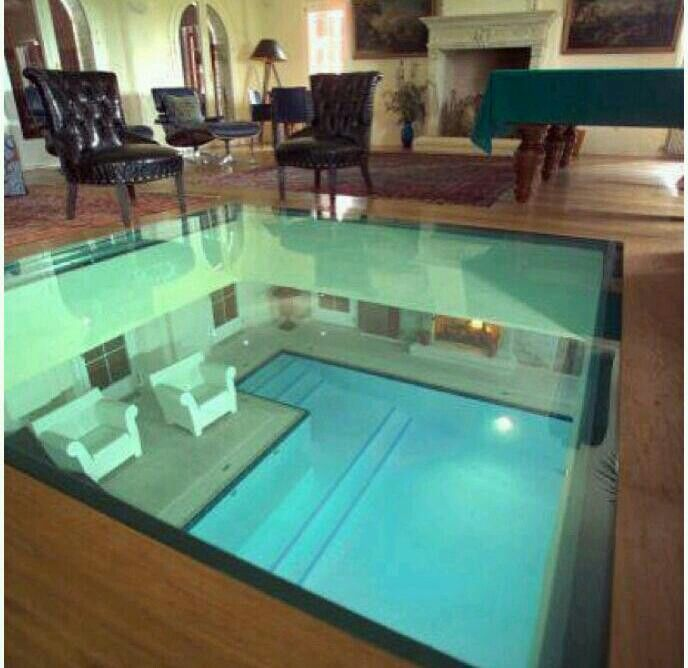 Glass floor to look at the pool under it home for Pool designs under 30000
