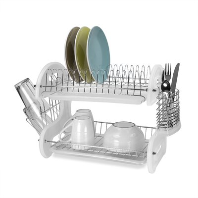 Home Basics 2 Tier Plastic Dish Drainer Finish White Dish