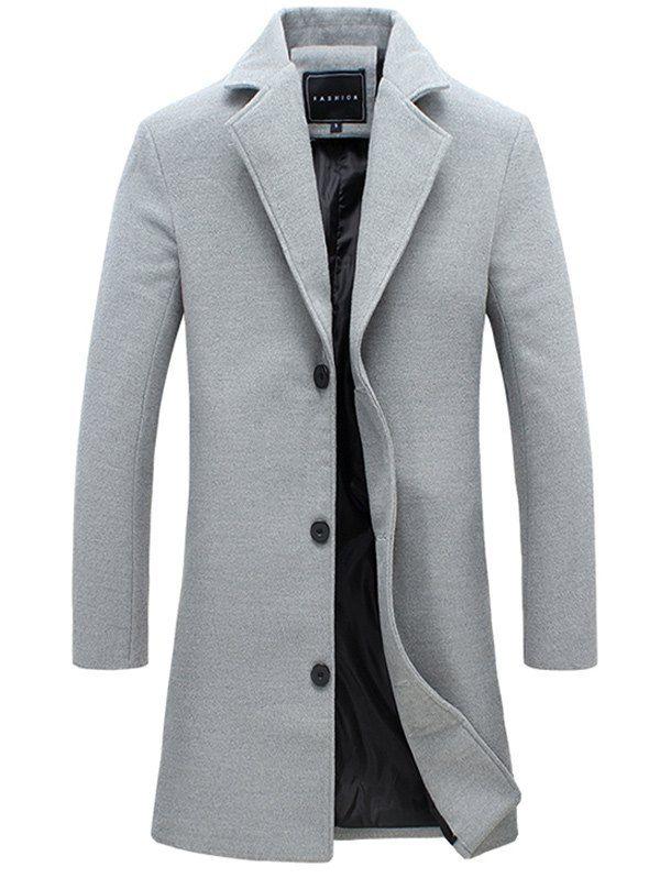 Single-Breasted Lapel Slim Woolen Coat - Gray - L