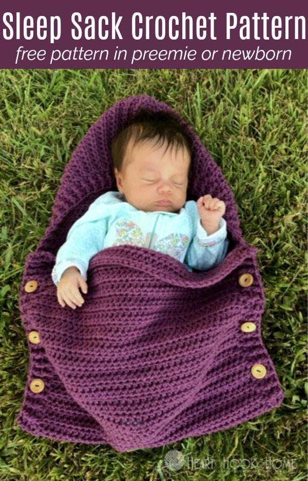 Newborn Sleep Sack Free Crochet Pattern #crochetbabycocoon